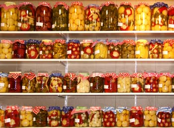 preserving jars in the central market of Budapest