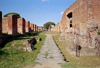 Antique road in Ostia Antica